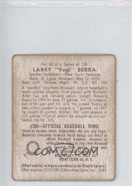 1949 Bowman #60 - Yogi Berra REPRODUCTION - Courtesy of CheckOutMyCards.com