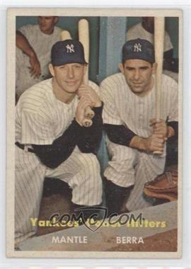 1957 Topps #407 - Yankees Power Hitters Mickey Mantle Yogi Berra - Courtesy of CheckOutMyCards.com