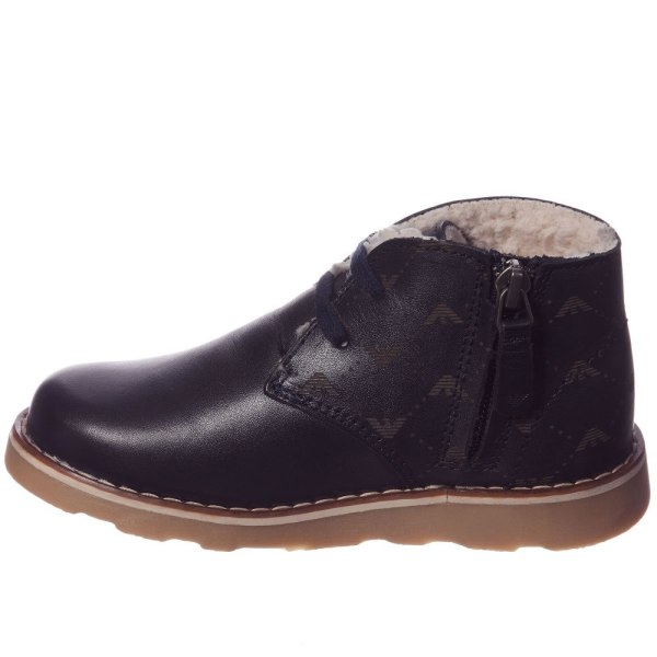 Armani Junior Boys Navy Blue Leather Fur Lined Ankle Boots