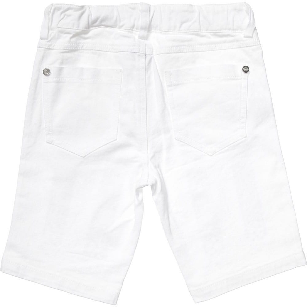 PARROT Girls White Cotton Shorts with Blue Jewels
