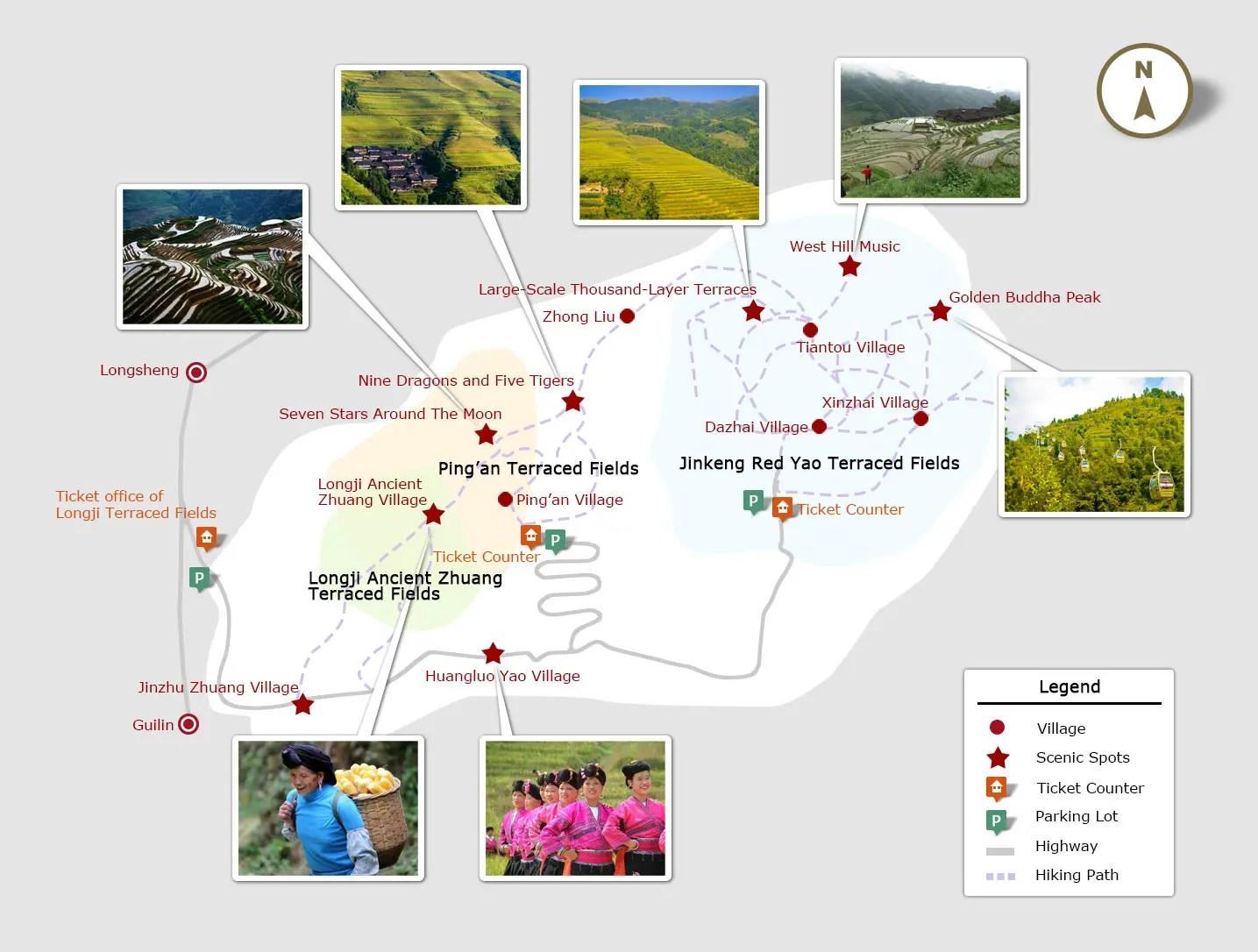 Resultado de imagen de map of rice terraces longji