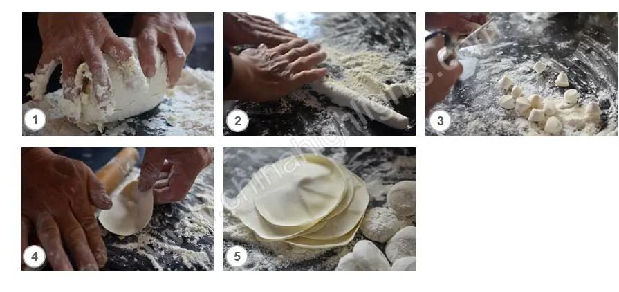 Make the dumpling wrapper