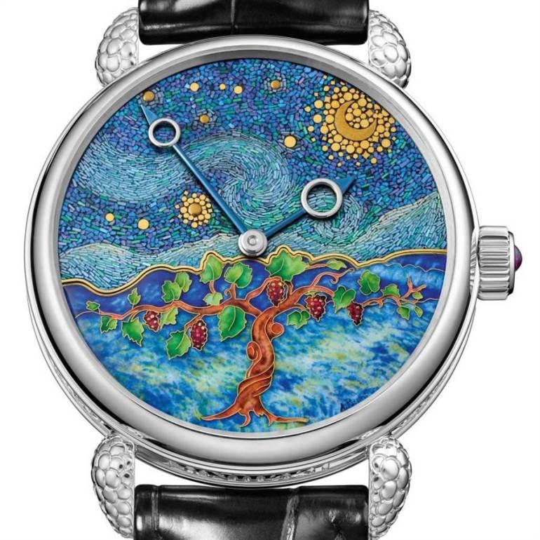 獨立製表師Kari Voutilainen結合日本漆器工藝和西方的馬賽克工藝打造「Starry Night Vine」腕表,奪得最佳藝術工藝獎」。(Voutilainen提供)