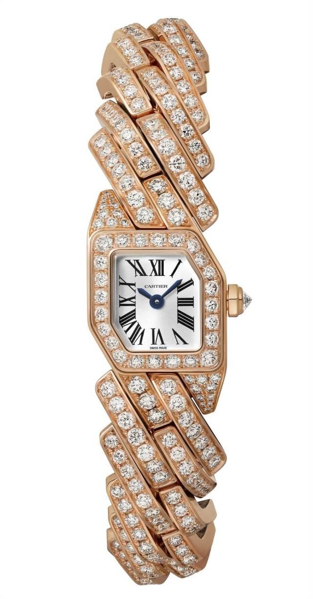 卡地亞Maillon de Cartier玫瑰金滿鑽奢華版腕表,331萬元。(Cartier提供)