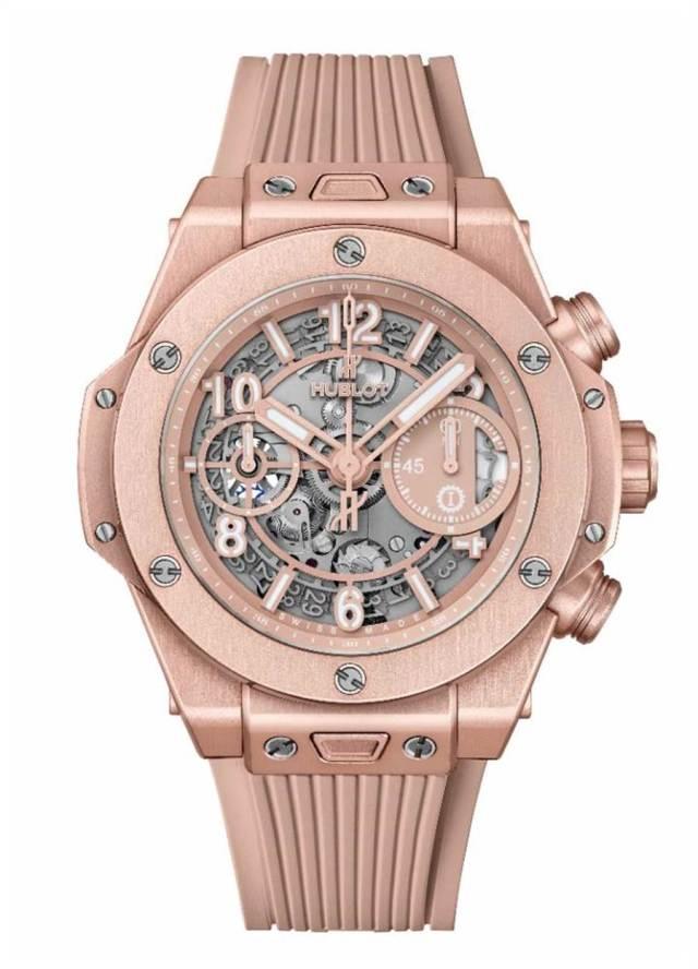 宇舶表Big Bang千禧粉腕表,65萬1000元。(HUBLOT提供)