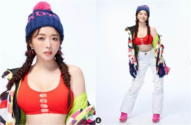 成語蕎曝光2月份年曆造型,開洞滑雪裝辣到被粉絲說會「雪崩」。(翻攝自成語蕎IG)