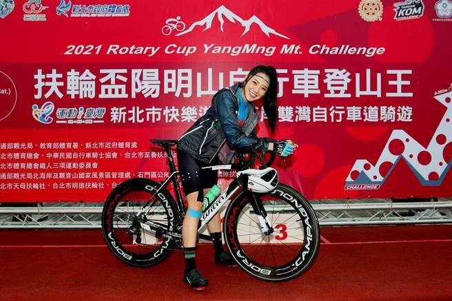 藝人宋城希參加扶輪盃陽明山自行車登山王挑戰。(中華民國自行車騎士協會提供)