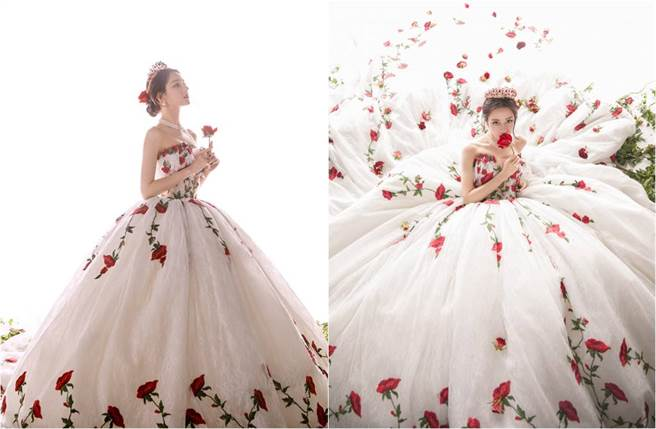 迪麗熱巴日前身穿一襲玫瑰刺繡蓬裙禮服亮相,她整個人美如公主。(圖/取材自嘉行迪麗熱巴工作室微博)