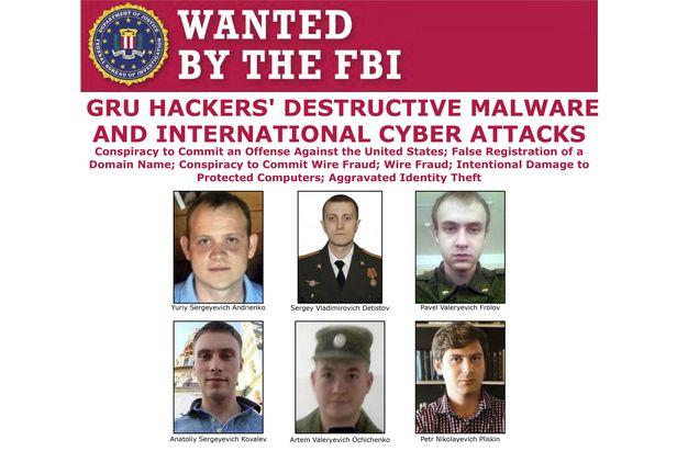 미국 FBI가 사이버테러범으로 지목한 6명의 러시아 군정보장교들. 이들이 프랑스대선과 평창동계올림픽, 미국 기업등을 해킹했다고 발표했다./AP 연합뉴스
