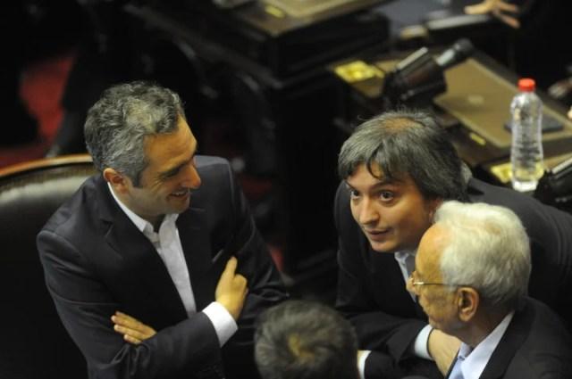 Máximo Kirchner junto a Andrés Larroque . (Guillermo Rodríguez Adami)