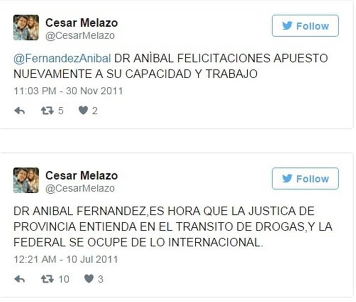 César Melazo y su apoyo a Aníbal Fernández, a través de Twitter.