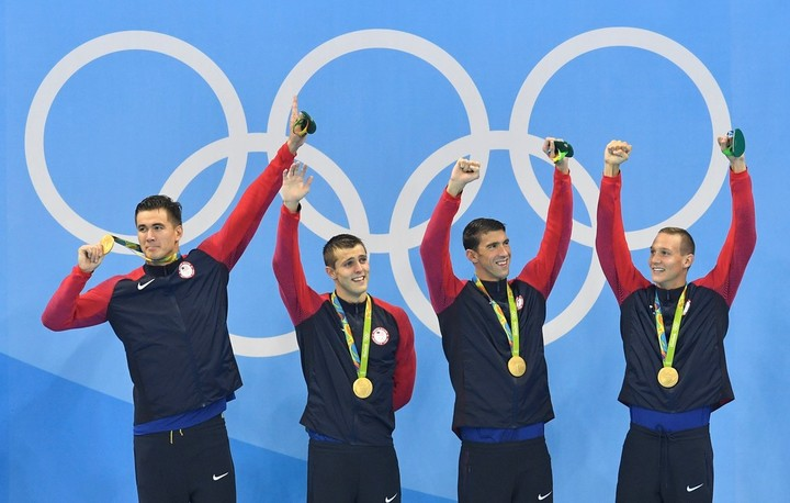 One of the last images of Phelps on the Olympic podium, in Rio 2016. (AP)