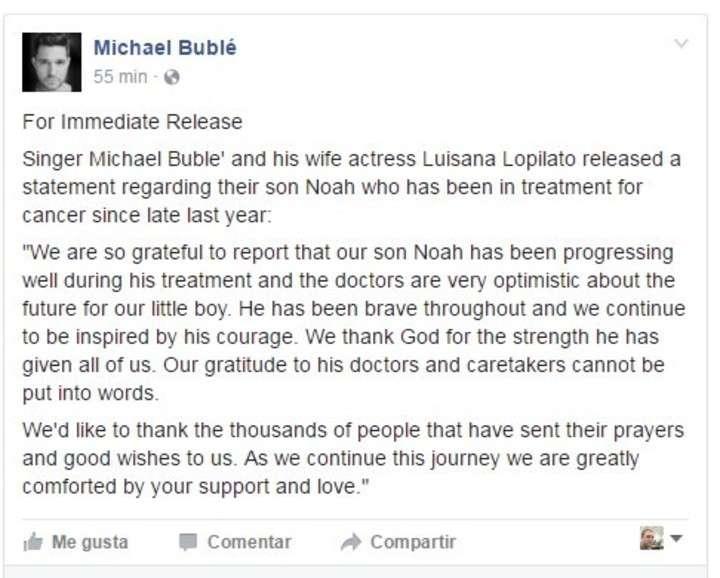 Comunicado de Michael Bublé por la salud de Noah, su hijo con Luisana Lopilato