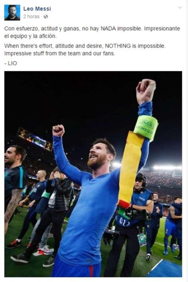 Lionel Messi contó en Facebook la receta de la hazaña ante el PSG