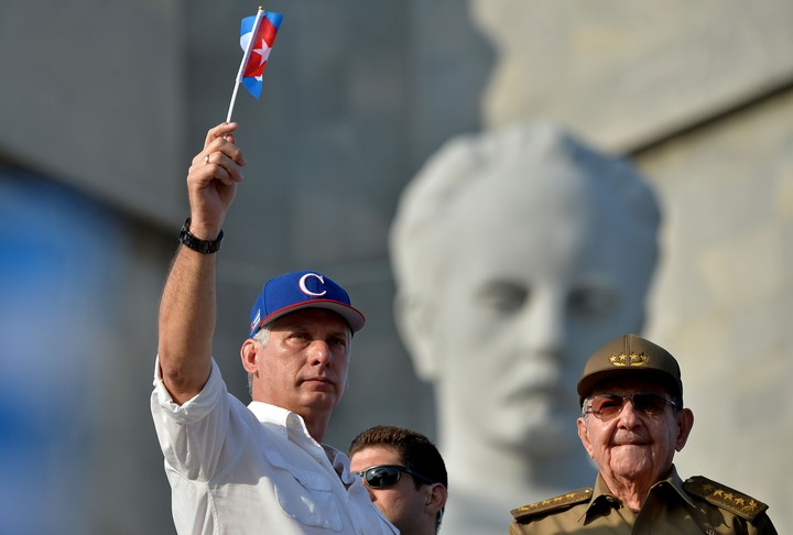 Cuban President Miguel Diaz-Canel with Raul Castro.  AFP photo