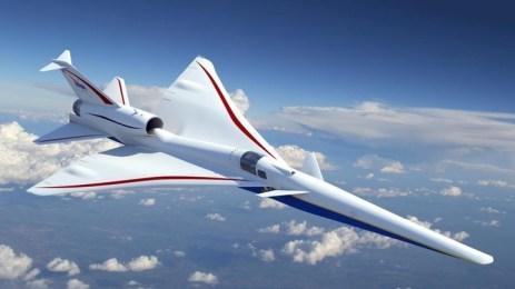 Imagen recreada por computadora del QueSST, el avión supersónico en el que trabaja la NASA.
