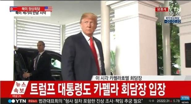 Donald Trump ingresa al hotel Capella de Singapur para el encuentro com Kim Jong-un