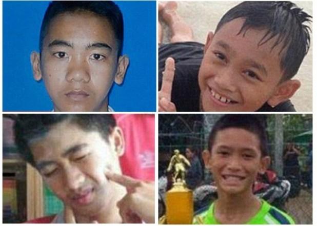 Los cuatro chicos rescatados en Tailandia.