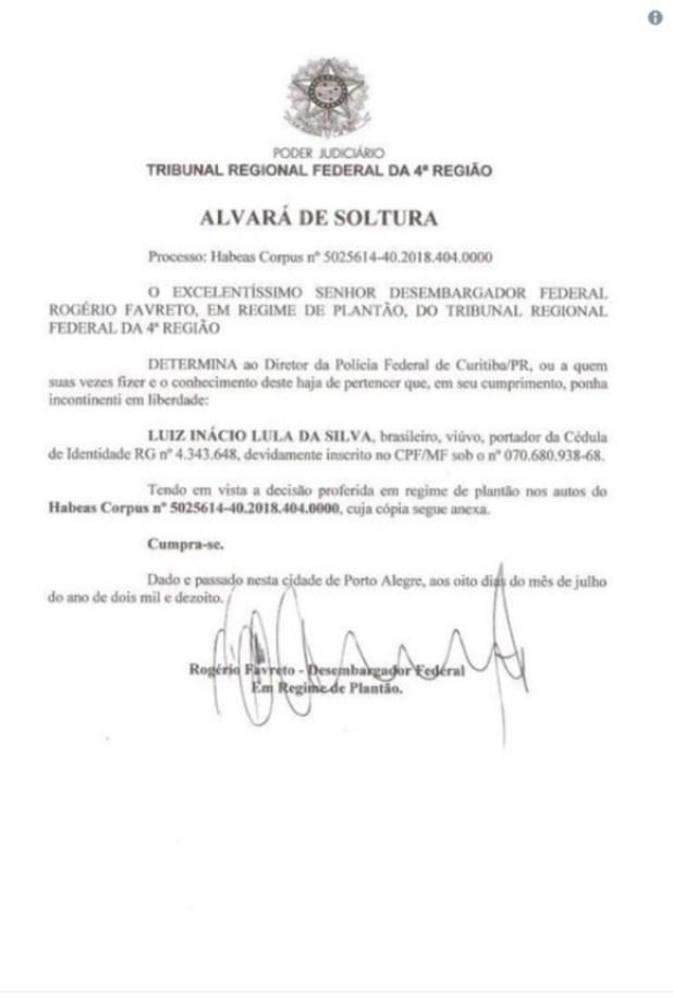 La orden de liberación emitida por el juez Rogério Favreto.