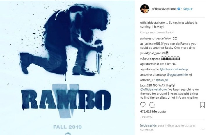 El póster de Rambo V, la quinta parte de la saga de acción.