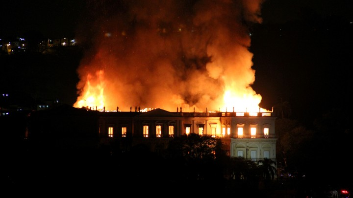The fire in the National Museum of Rio de Janeiro, in September 2018. Photo: REUTERS