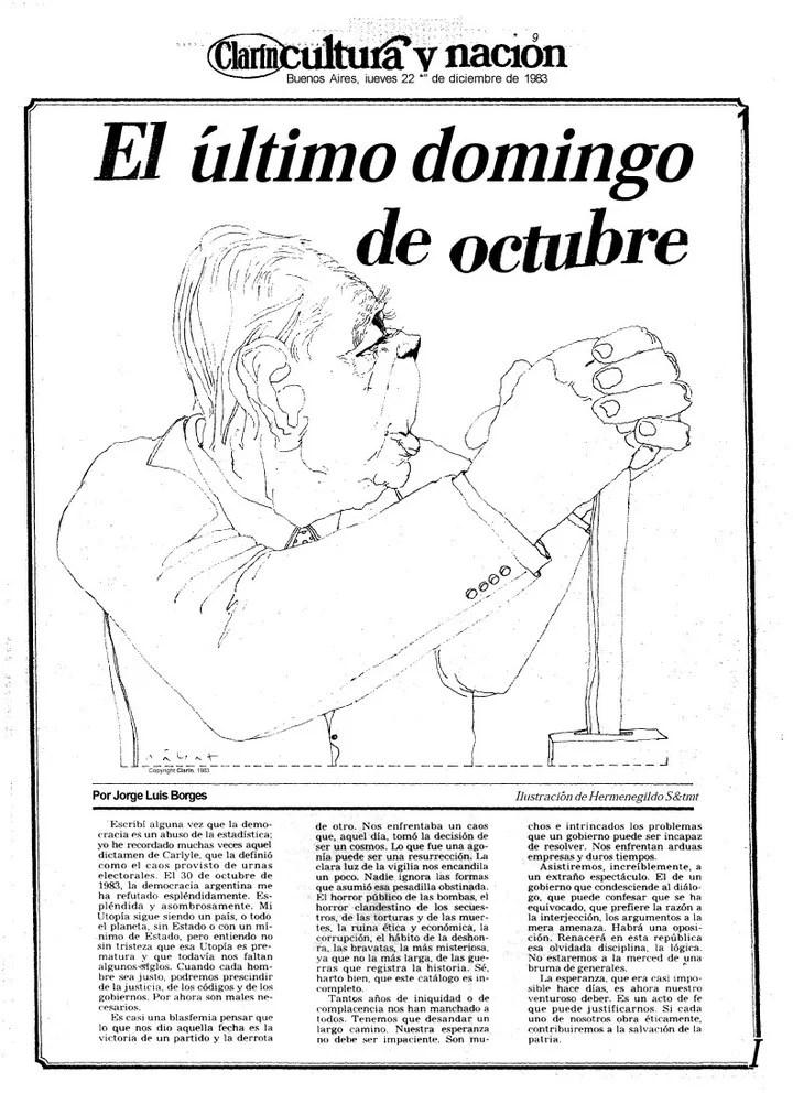 La tapa del suplemento Cultura y Nación de Clarín del 22 de diciembre de 1983, con el texto de Jorge Luis Borges sobre el regreso de la democracia.