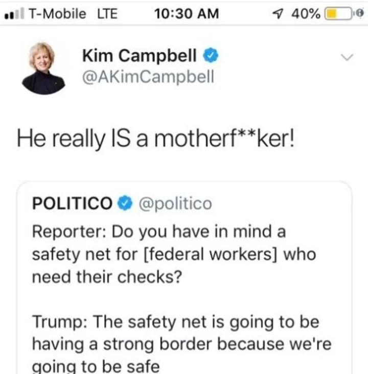 """""""Realmente es un hijo de p*ta"""", escribió la política canadiense, abiertamente crítica del mandatario estadounidense. Su comentario fue retuiteado 2.000 veces antes de ser eliminado."""