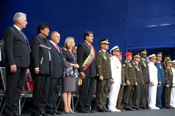 Nicoolás Maduro (center), Miguel Díaz-Canel and Diosdado Cabello in January 2019. AFP Photo