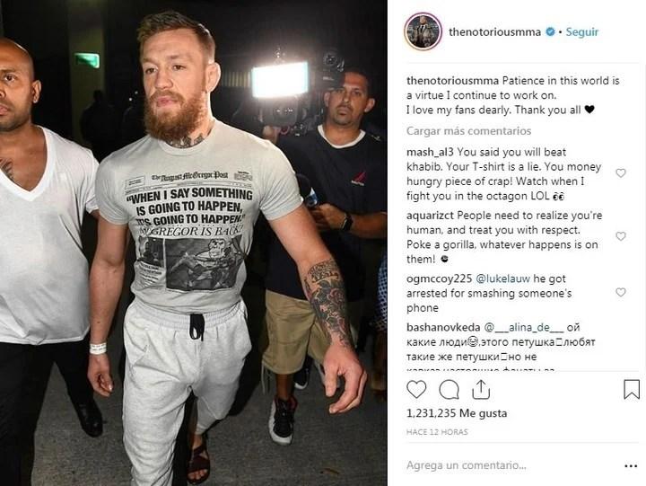 Conor McGregor due arrestado por romper el celular de un fan que le quería sacar fotos. (Instagram: thenotoriousmma)