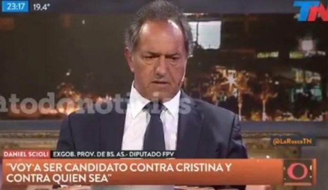 "DanielScioliaseguró que va a competir ""contra Cristina o contra quien sea"" en las PASO."