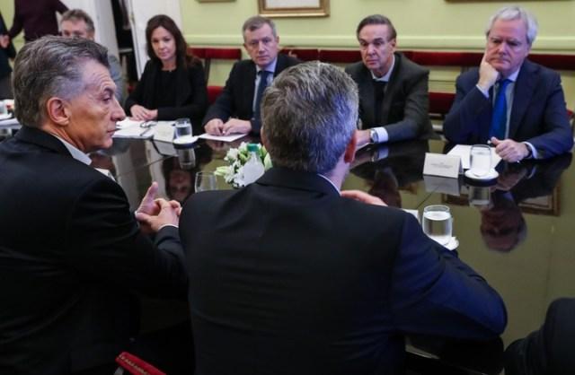 Miguel Pichetto, este jueves, en la reunión de Gabinete que presidió Mauricio Macri.