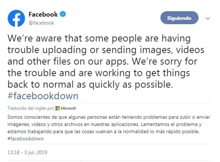El tuit de Facebook disculpándose por los problemas ocasionados.