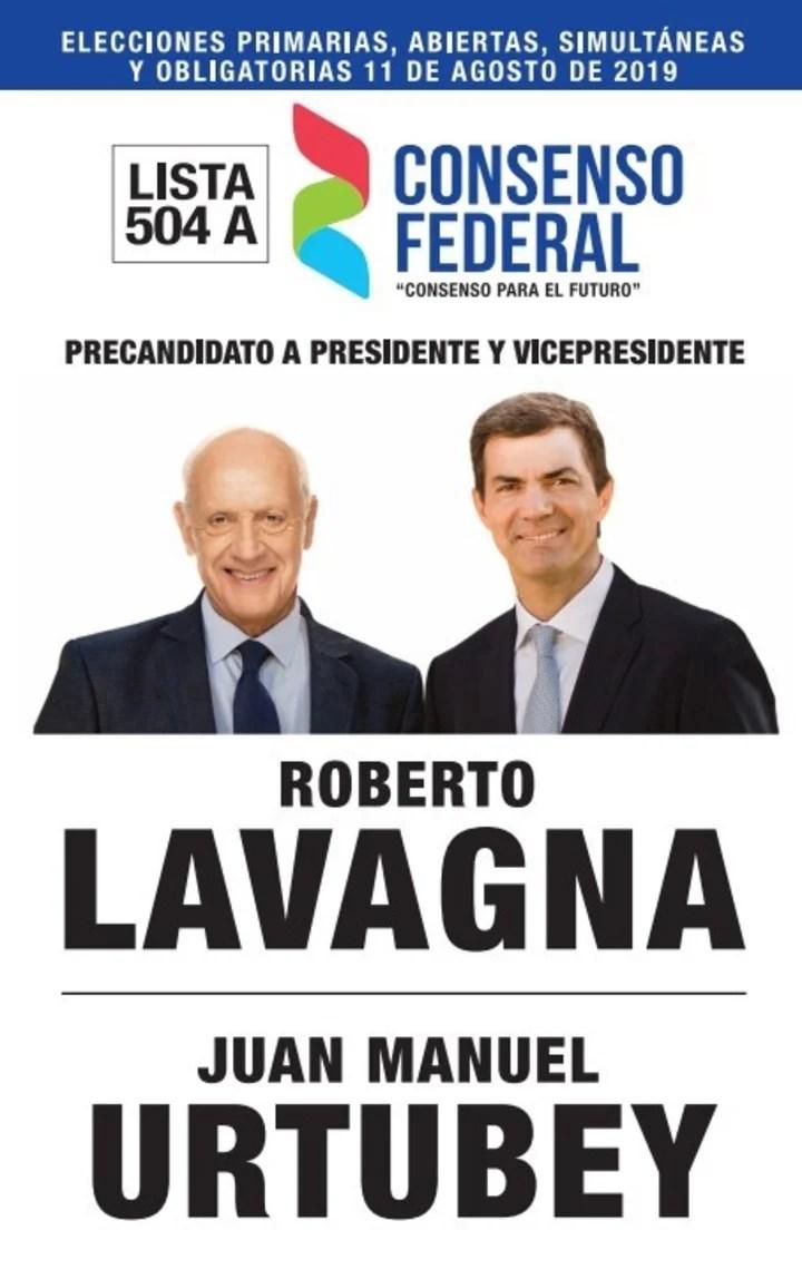 Elecciones 2019. La boleta de Consenso Federal, con los candidatos Roberto Lavagna y Juan Manuel Urtubey.