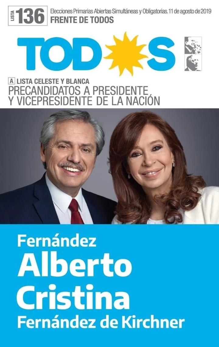 La Boleta del Frente de Todos con Alberto Fernández y Cristina Kirchner.