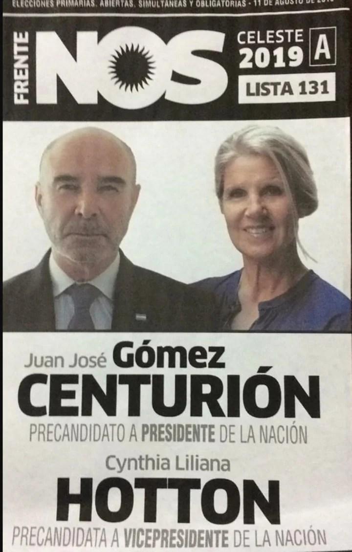 Elecciones 2019. La boleta del Frente Nos que lleva a Juan José Gómez Centurión y Cinthia Hotton.