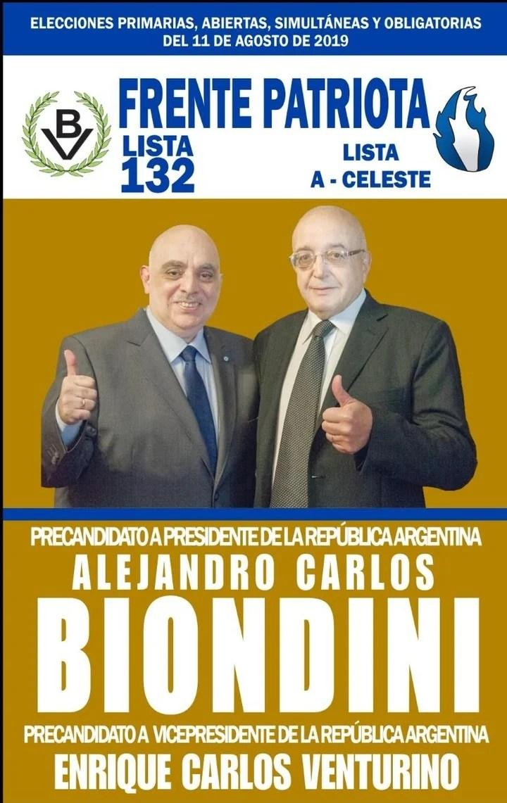 La boleta del Frente Patriota con los candidatos Alejandro Biondini y Enrique Venturino.
