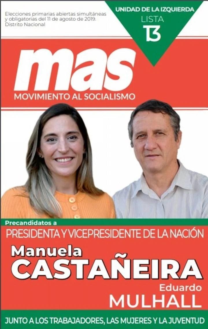 Elecciones 2019. La boleta del Mas con los candidatos Manuela Castañeira y Eduardo Mulhall.
