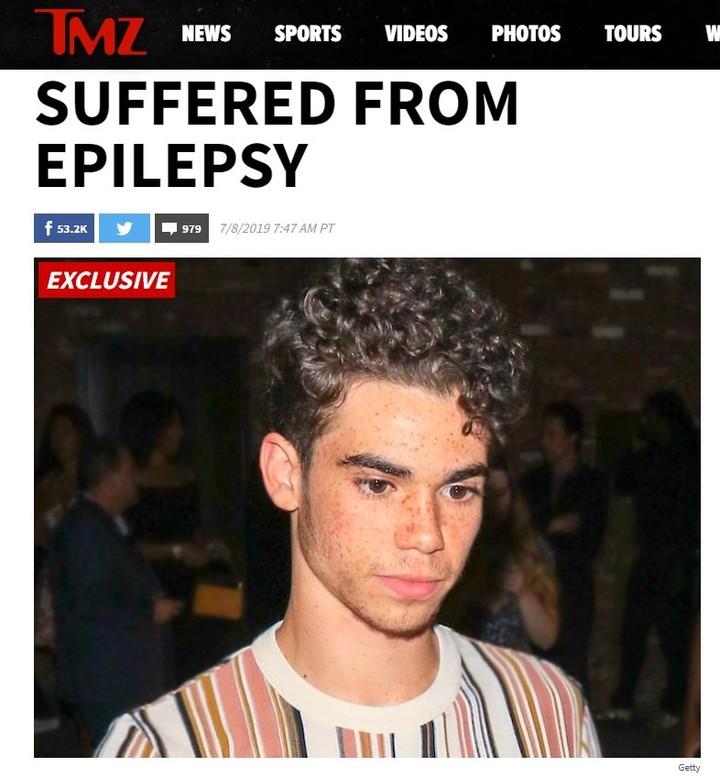 Nota de TMZ donde marca que Boyce sufriría epilepsia.