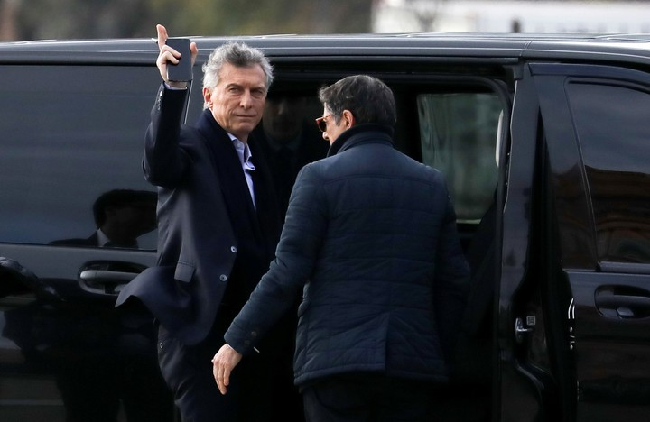 President Mauricio Macri arrives at the government house in Buenos Aires, Argentina, on Monday, September 2, 2019. The Argentine government decreed on Sunday that Argentines will need authorization from the central bank to buy US dollars.  (AP Photo / Natacha Pisarenko)