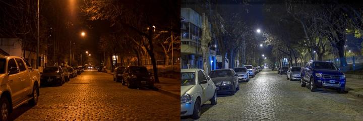 Buenos Aires, antes y después de la renovación de sus luces. Foto: Phillips