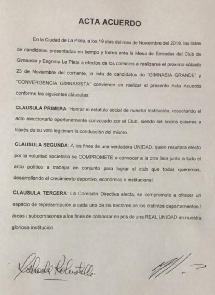 El acta que firmaron los dos candidatos a presidente de GImnasia.