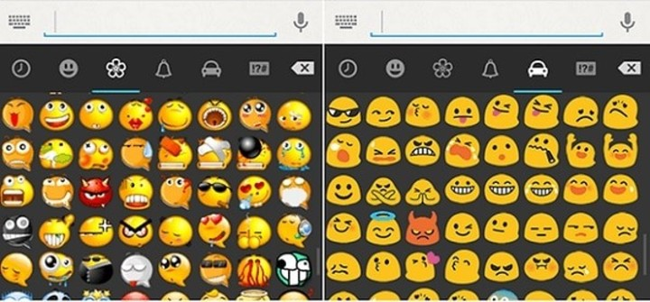 The emoticons in WhatsApp Plus (left) compared to the original version that WhatsApp has.