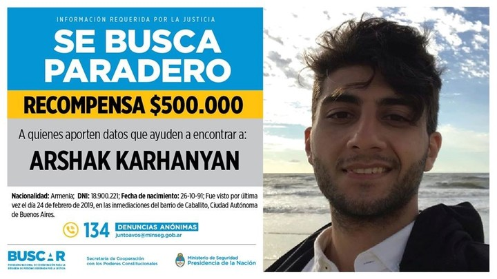 The Ministry of Security offers a reward for data on the missing City Police officer, Arshak Karhanyan (27).