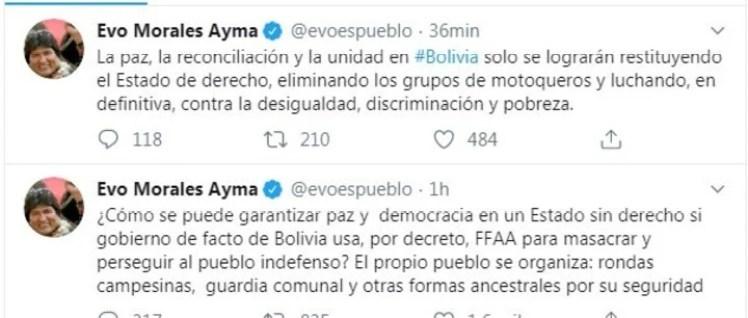 Los tuits de Evo Morales.