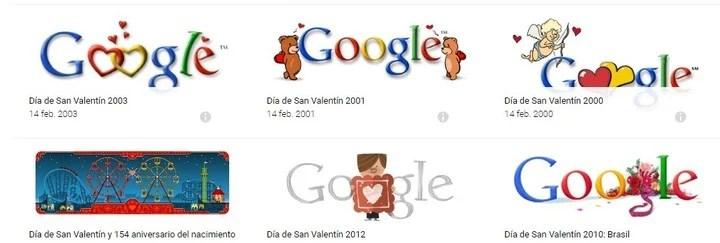 San Valentín. Doodles diseñados por Google años para conmemorar el día de los enamorados. Foto/ Web