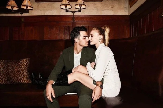 Joe and Sophie in a photo uploaded to Instagram of the actress.