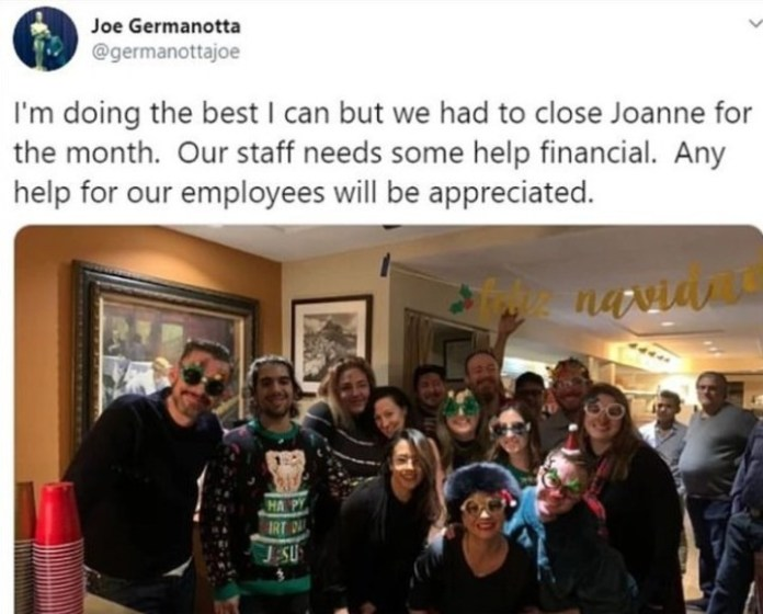 Joe Germanotta, the father of Lady Gaga, asked for financial aid for your restaurant on Twitter and then deleted the posting.