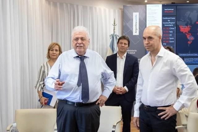 Hora Rodríguez Larreta junto al ministro de Salud de la Nación Ginés González García