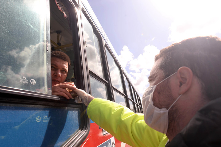 In 2020, a smell test on a passenger bus.