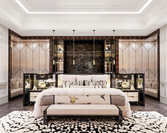 The master bedroom, almost a thousand square feet. (Architectural Digest)
